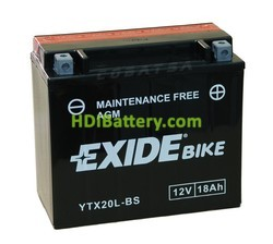 Batería moto Exide YTX20HL-BS AGM 12V. 18Ah